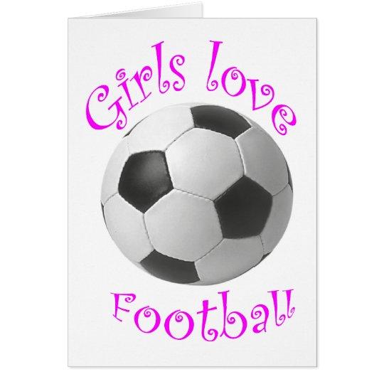 Girls love football art gifts card