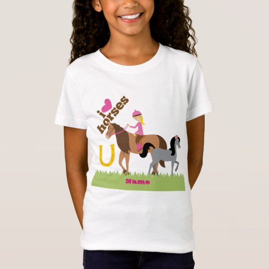 Girls Love Horses Cute Gift Personalised T-Shirt