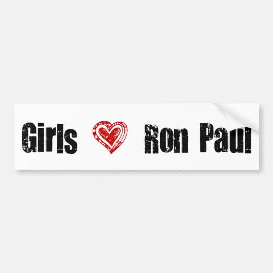 Girls Love Ron Paul Heart Bumper Sticker
