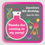 Girl's Mad Science Lab Birthday Party Favour Square Sticker