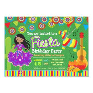 Girls Mexican Fiesta Birthday Party 13 Cm X 18 Cm Invitation Card