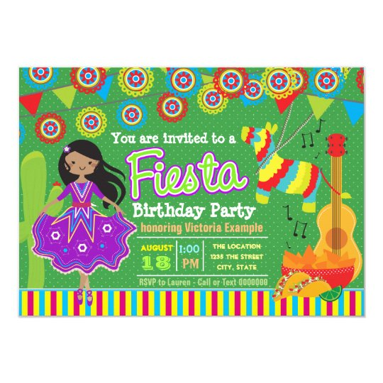 Girls Mexican Fiesta Birthday Party Card