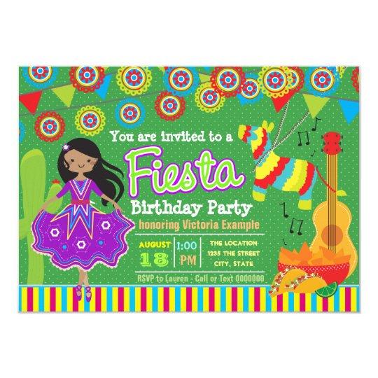 Girls Mexican Fiesta Birthday Party Card