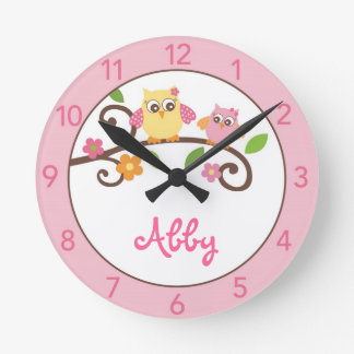 Girls Mod Owl Personalized Nursery Wall Clock