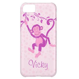 Girls monkey purple & pink name iphone 5 case