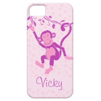 Girls monkey purple & pink name iphone 5 case