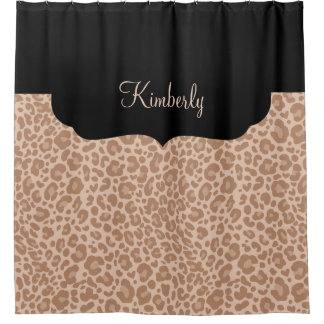 Girls Monogram Leopard Pattern Shower Curtain