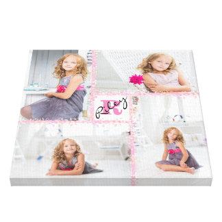 Girls Monogram Photo Collage Canvas Print