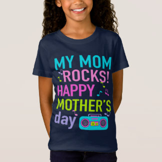 Girls Mother's Day Shirt Navy Girl My Mom Rocks