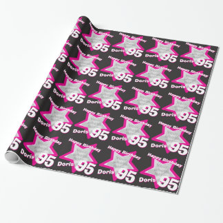 Girls name 95th birthday photo pink black wrap gift wrapping paper