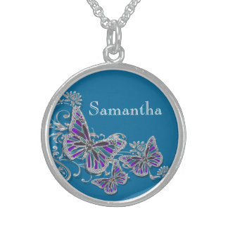 Girls name butterfly wedding favor round pendant necklace