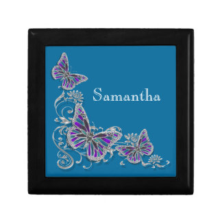 Girls name elegant butterfly personalize small square gift box