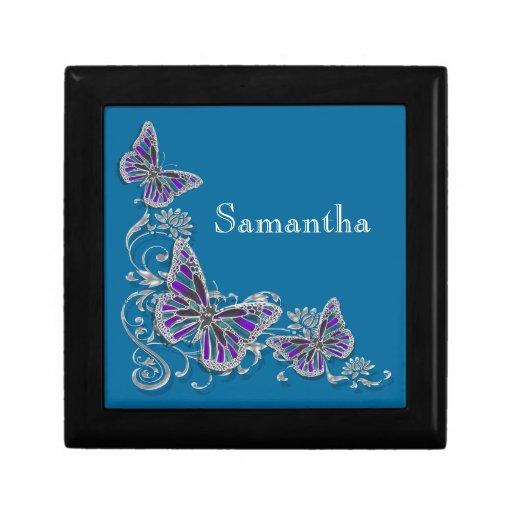 Girls name elegant butterfly personalize keepsake box