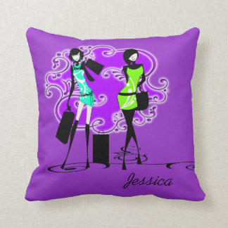 Girls name fashion models trendy throw pillow