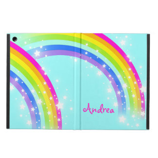 Girls name rainbow aqua blue pink ipad air case