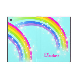 Girls name rainbow aqua blue pink ipad mini case