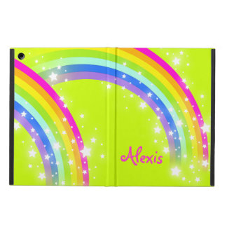 Girls name rainbow pink lime ipad air powis case