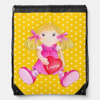 Girls name yellow toy rag doll art drawstring bag