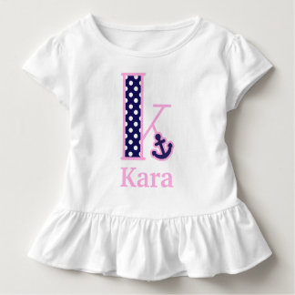 Girls Nautical Top Anchor Monogram Shirt Letter K