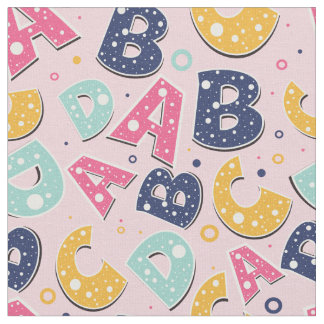 Girls Navy and Pink ABC Alphabet Pattern Fabric
