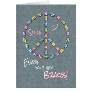 Girls New Braces Congratulations Peace Sign Card