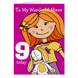 Girls Niece 9th birthday card girlie purple