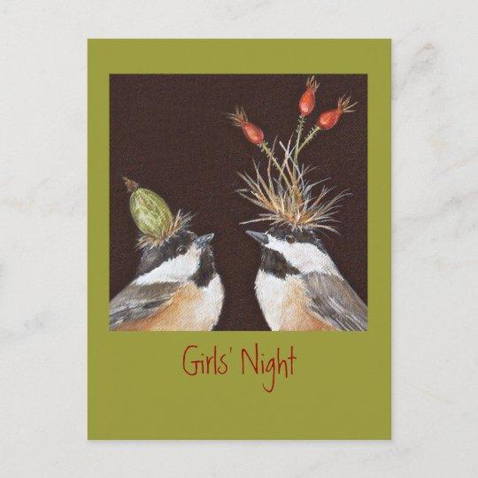 Girls' Night invitation postcard