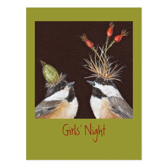 Girls' Night invitation postcard