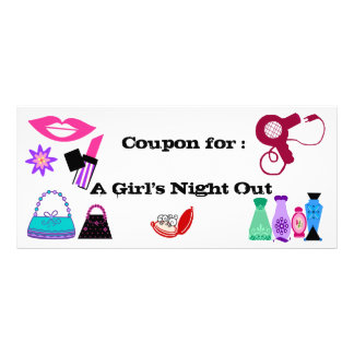 Girl's Night out coupon Personalised Rack Card