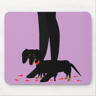 Girls' Night Out - Dachshund Red Collar Mouse Mat