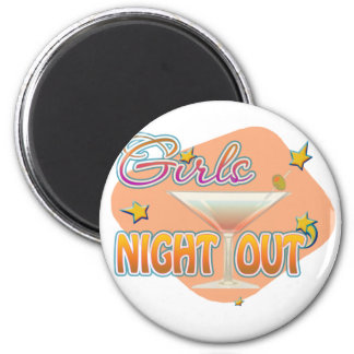 girls night out, last night out bachelorette party 6 cm round magnet
