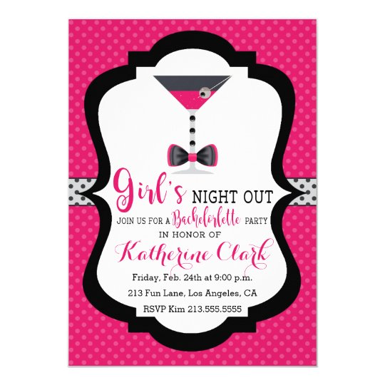 Girls' Night Out Martini Bachelorette Invitation