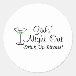 Girls Night Out Martini Round Sticker