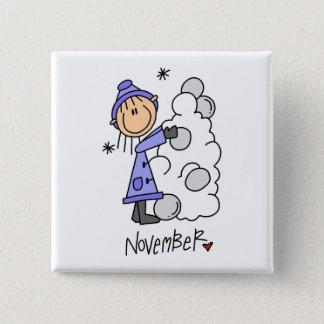 Girl's November Birthday 15 Cm Square Badge