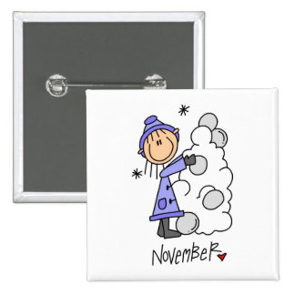 Girl's November Birthday 15 Cm Square Badge