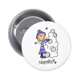 Girl's November Birthday 6 Cm Round Badge