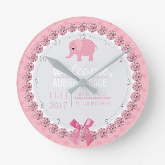 Girls Nursery Pink Elephant | Custom Birth Stats