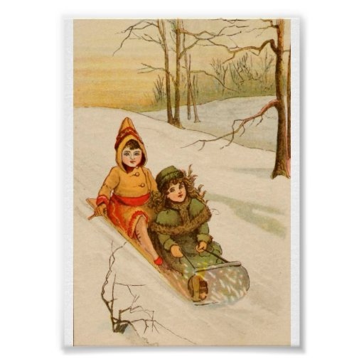 Girls on a Sled in Winter Snow Print