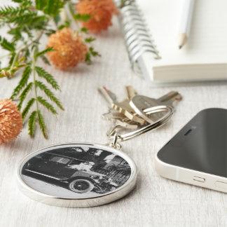 Girls On Car Black White Premium Round Keychain Keychain