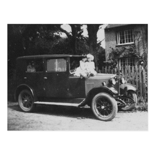 Girls On Car Old Black & White Image