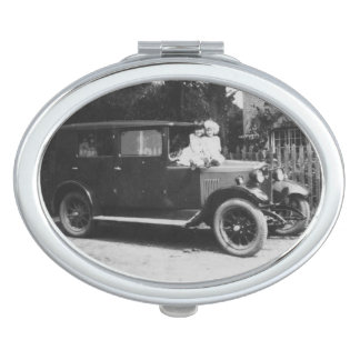 Girls On Car Vintage Image Oval Compact Mirror