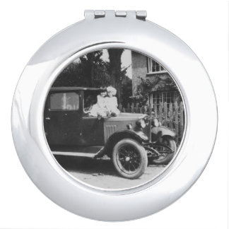 Girls On Car Vintage Image Round Compact Mirror