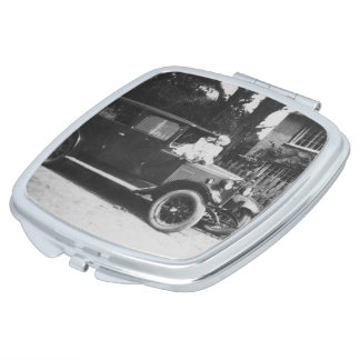 Girls On Car Vintage Image Square Compact Mirror