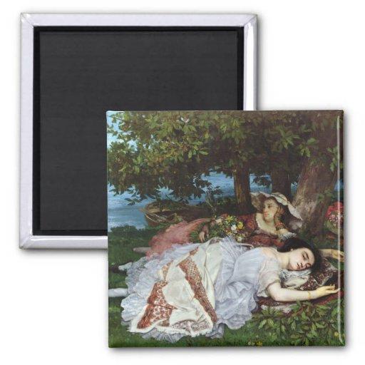 Girls on the Banks of the Seine, 1856-57 Fridge Magnet