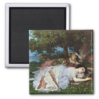 Girls on the Banks of the Seine, 1856-57 Square Magnet