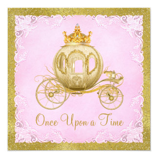 Girls Once Upon a Time Princess Carriage Birthday 13 Cm X 13 Cm Square Invitation Card