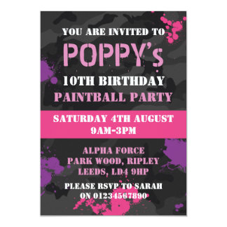 Girls Paintball themed birthday party invitation