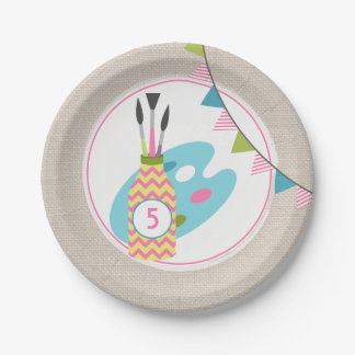 Girls Painting / Art Birthday Party 7 Inch Paper Plate