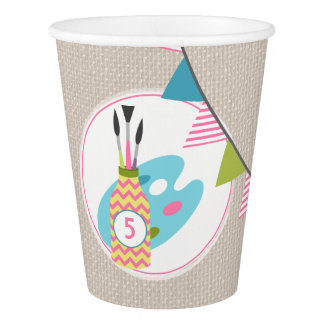 Girls Painting / Art Birthday Party Cups