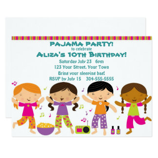 Girls Pajama Party Card